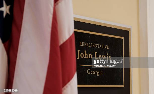 The outside of Rep John Lewis office is seen in the Cannon House Office Building in on July 18, 2020 in Washington, DC. John Lewis, died at 80 years...