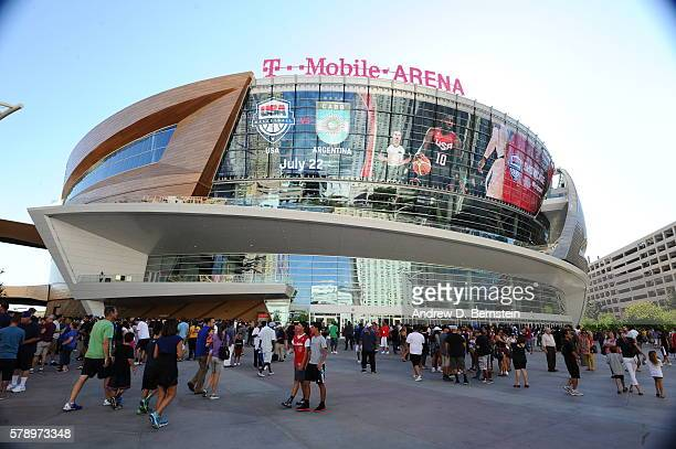 The outside of the arena before the game between the USA Basketball Men's National Team and Argentina on July 22 2016 at TMobile Arena in Las Vegas...