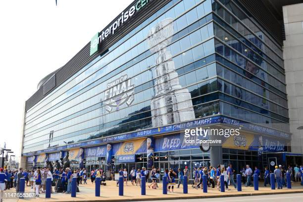 The outside of the Enterprise Center before Game 3 of the Stanley Cup Final between the Boston Bruins and the St. Louis Blues, on June 01 at...