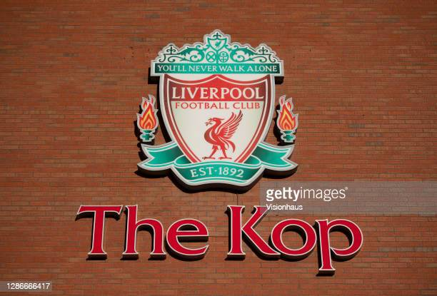 The outside of The Kop stand at the Anfield Stadium on November 19th, 2020 in Liverpool United Kingdom.
