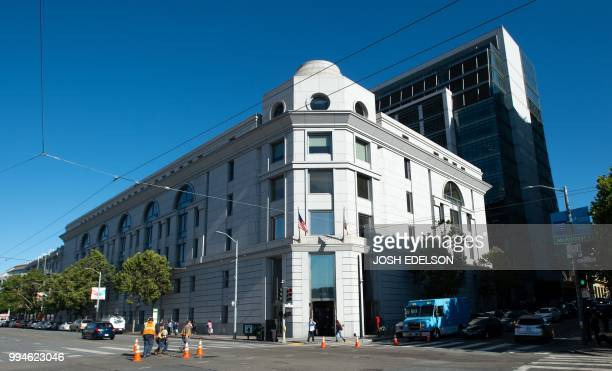 The outside of the Superior Court of California is seen before the start of the Monsanto trial in San Francisco California on July 9 2018 The...