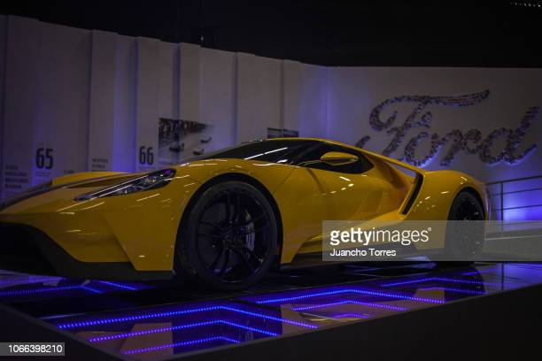 The outstanding Ford GT car is displaying during the International Motor Show Bogota 2018 at Corferias Convention Center on November 11, 2018 in...