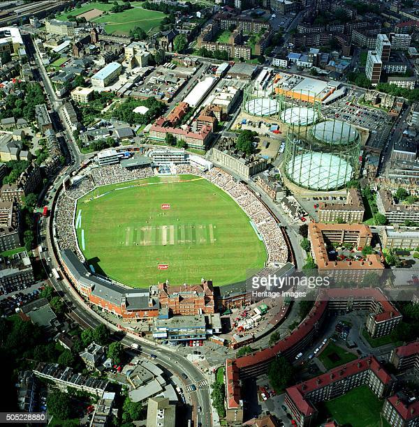 The Oval Cricket Ground, Kennington, London, 2001. Aerial view of the ground during the final afternoon of the 5th and final test match of the 2001...
