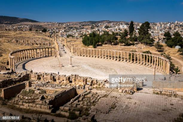 The Oval Forum and Cardo Maximus in ancient Jerash, Jordan