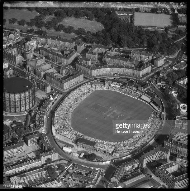 The Oval, home ground of Surrey County Cricket Club, Kennington, London, 1955. View of the ground during the 5th test match between England and South...