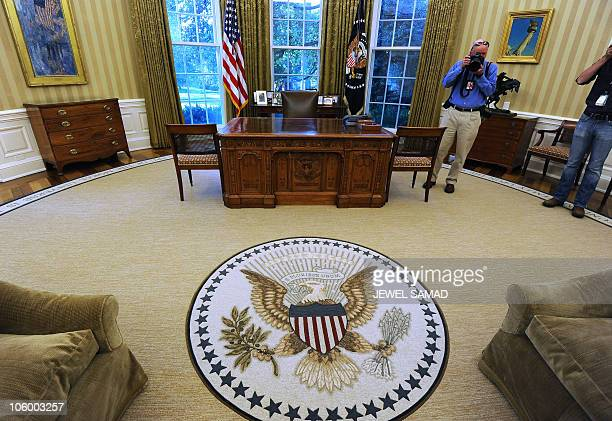 The Oval Office of the White House with redecorations of its carpet couches and wallpaper is pictured on August 23 2010 AFP PHOTO/Jewel Samad