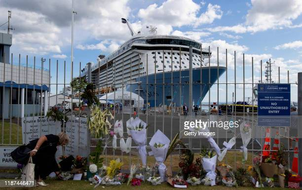 The Ovation of the Seas cruise ship that carried passengers who travelled to White Island when it erupted is seen berthed a Port of Tauranga on...