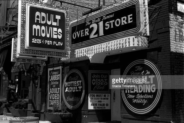 The Over 21 Adult Book Store on North Wells Street in the Old Town neighborhood of Chicago Illinois United States on June 23 1991