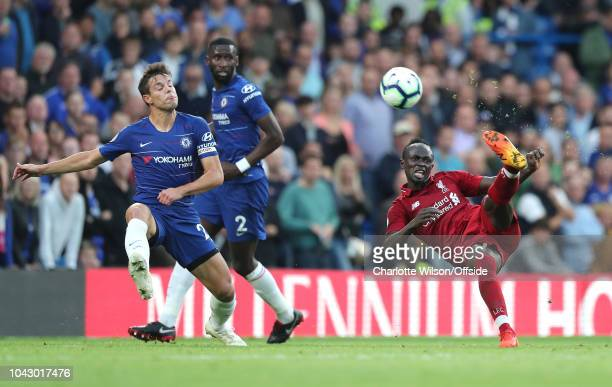 The overhead kick of Sadio Mane of Liverpool sails over the bar during the Premier League match between Chelsea FC and Liverpool FC at Stamford...