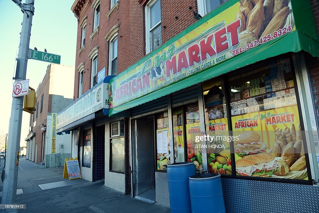 The OW African Market and other business that serve exiles from Guinea on Third Avenue in the Bronx borough of New York, December 6, 2012. Nafissatou Diallo, a Guinean immigrant who accused former IMF head Dominique Strauss-Kahn of sexual assault, will agree to a settlement with Strauss-Kahn in a Bronx court on December 10. AFP PHOTO/Stan HONDA