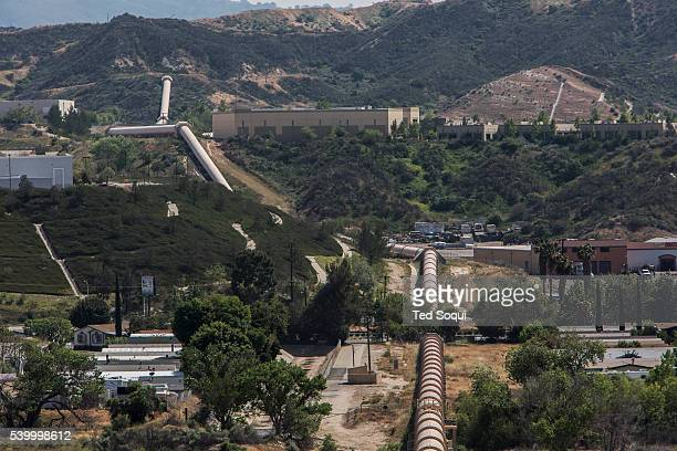 The Owens River Aqueduct system near Los Angeles The series of pipelines and manmade rivers divert and transport water via gravity in to the city of...