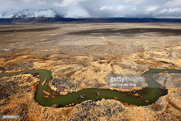 The Owens River courses through the desert in the Owens Valley in this view from a helicopter The Lower Owens River Project has restored nearly 60...
