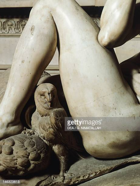 The owl detail from the tomb of Giuliano de' Medici 15251534 by Michelangelo marble sculpture Medici Chapel of the Church of San Lorenzo in Florence...