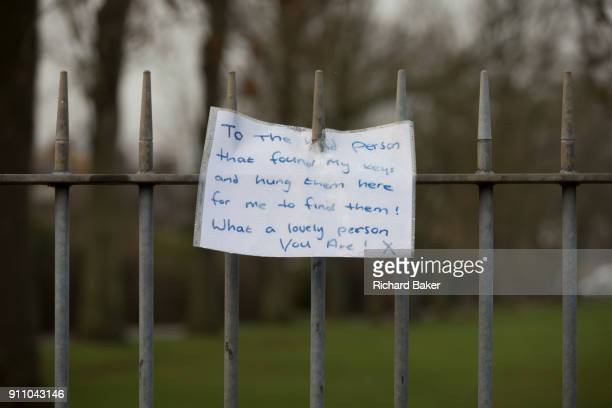 The owner of a set of keys left on railings at an entrance to Ruskin Park in the south London borough of Lambeth thanks the kind person who hung them...