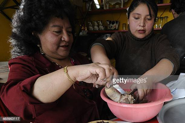 The owner of the Casa de Oro restaurant Aydé Urquizo Jauregui serves Cardan a soup made with phallus and testicles of bulls in La Paz on January 18...