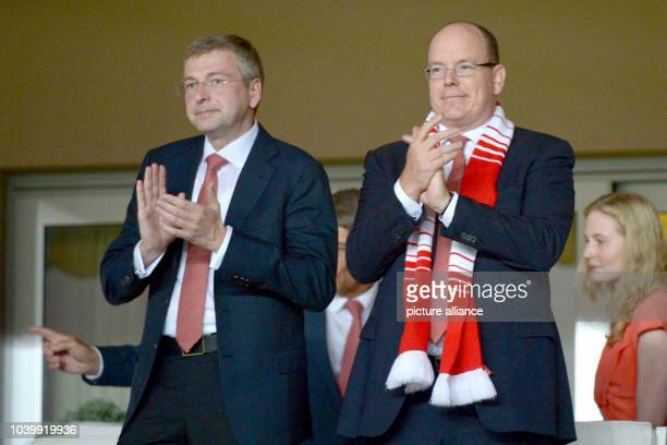 The owner of the football club AS Monaco Dmitry Rybolovlev and Prince Albert II attend the UEFA Champions League group C soccer match of AS Monaco...