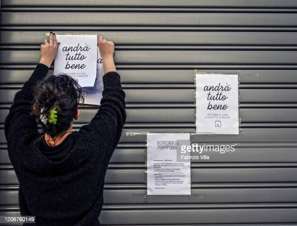 The owner of the historical bookshop of Catania Prampolini closes after the last ministerial dispositions for the Coronavirus on March 12 2020 in...