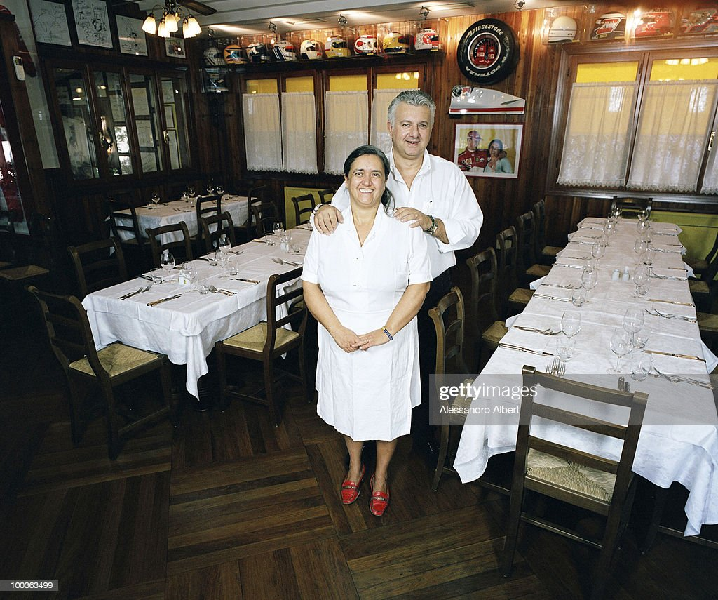 The owner of the restaurant Montana, Rossella Giannini and the husbant Maurizio Paulucci poses for a portraits session in the restaurant