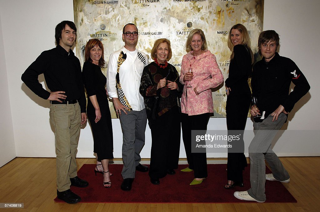 The owners and staff of the Margo Leavin Gallery (L-R Kye Potter, Cynthia Roe, Brad Hudson, Margo Leavin, Wendy Brandow, Sarah Nichols and Michael Dodge) attend the opening of artist Delia Brown's 'Double Self-Portraits And Step & Repeat' exhibition at the Margo Leavin Gallery on April 20, 2006 in West Hollywood, California.