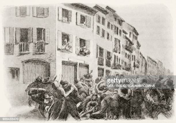 The owners of the Forno delle Grucce throwing stones through the windows at the rioters and hitting more than one rioter, illustration by Gaetano...