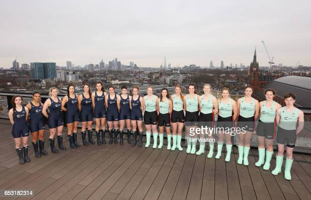 The Oxford and Cambridge women's crew pose prior to the crew announcement for the 2017 Cancer Research UK University Boat Races at Google's London...