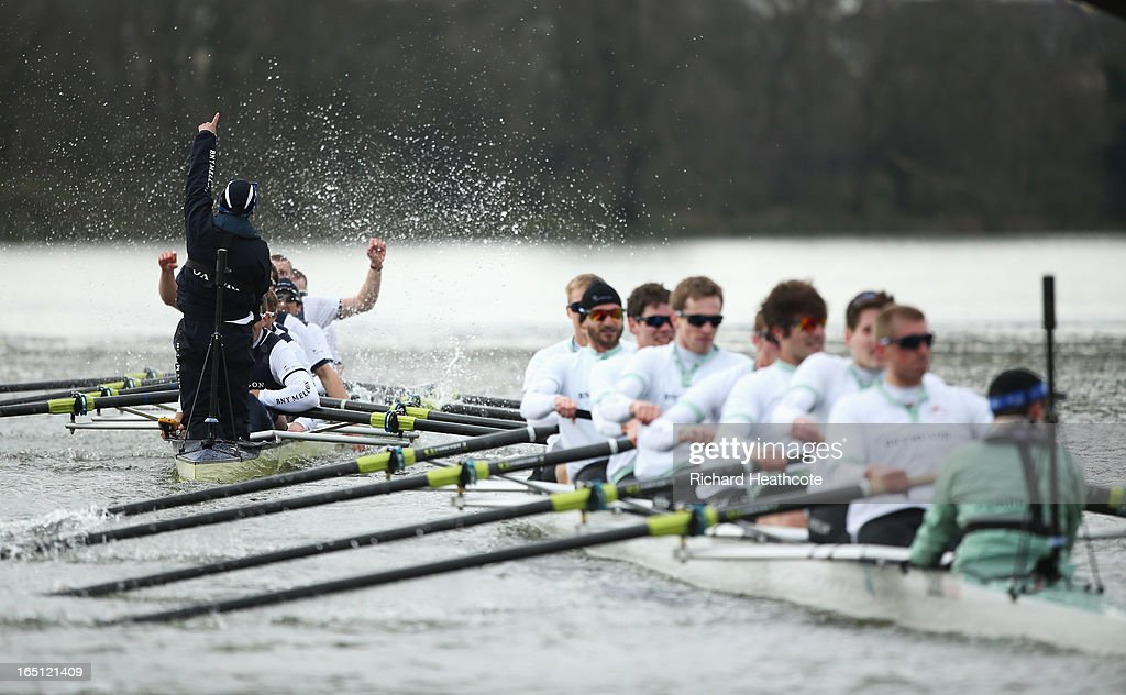 The Oxford crew celebrate victory after the BNY Mellon 159th Oxford versus Cambridge University Boat Race on The River Thames on March 31, 2013 in London, England.