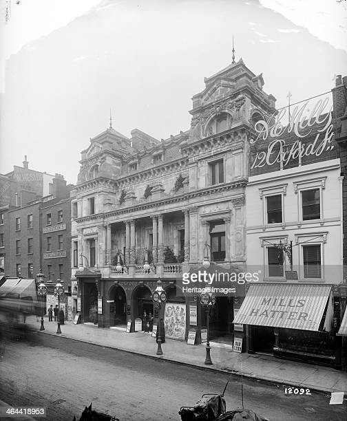 The Oxford Music Hall, London, 1893. The Oxford Music Hall, on the north side of Oxford Street between AE Mills the Hatter and Goldstein's Chemical...