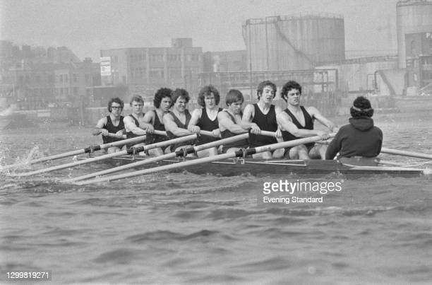 The Oxford rowing team during the Oxford-Cambridge boat race, UK, 1st April 1972.