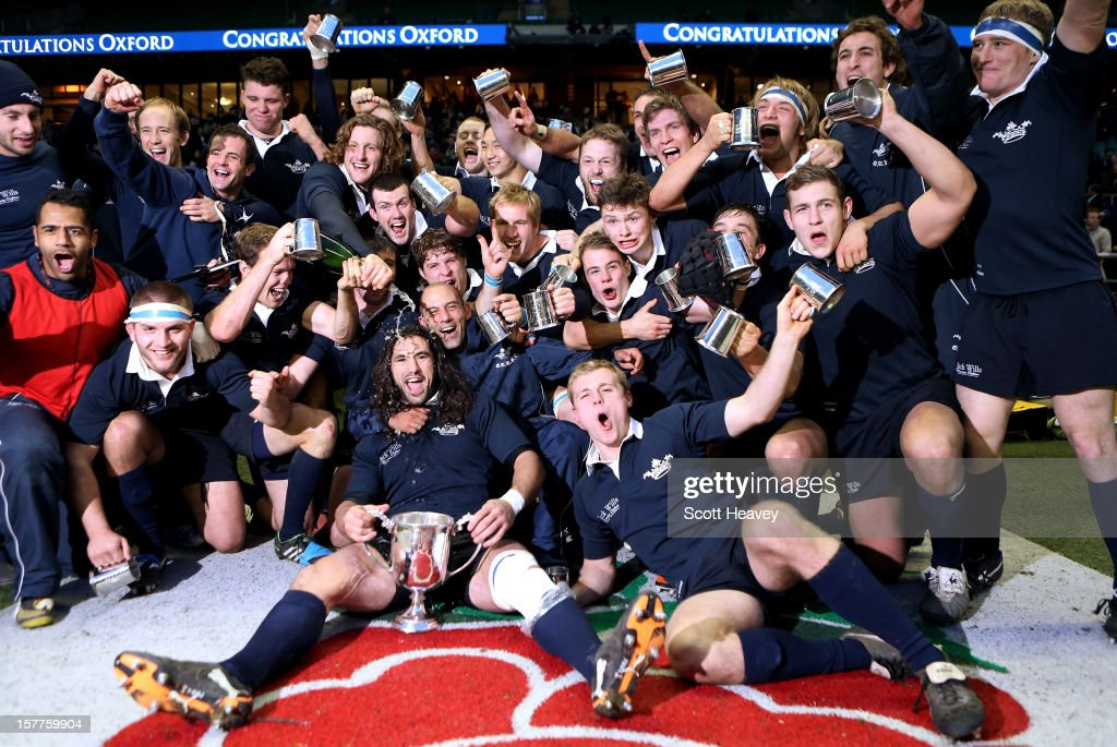 The Oxford team celebrate after their victory over Cambridge during the Varsity Match between Oxford University and Cambridge University at Twickenham Stadium on December 6, 2012 in London, England.