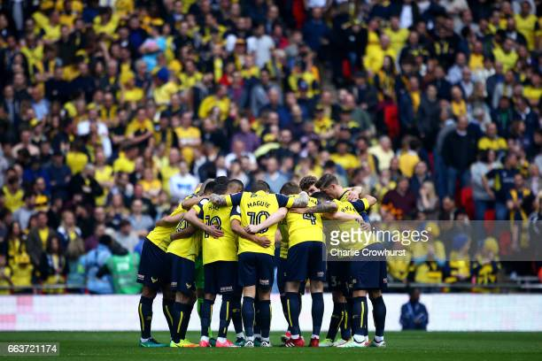 The Oxford team huddle prior to kick off during the EFL Checkatrade Trophy Final between Coventry City and Oxford United at Wembley Stadium on April...