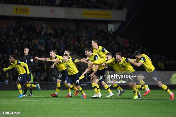 The Oxford United Team celebrate victory in the penalty shoot out during the Carabao Cup Round of 16 match between Oxford United and Sunderland AFC...
