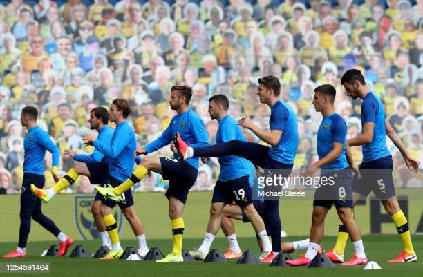 The Oxford United team warm up during the Sky Bet League One Play Off Semifinal 2nd Leg match between Oxford United and Portsmouth FC at Kassam...