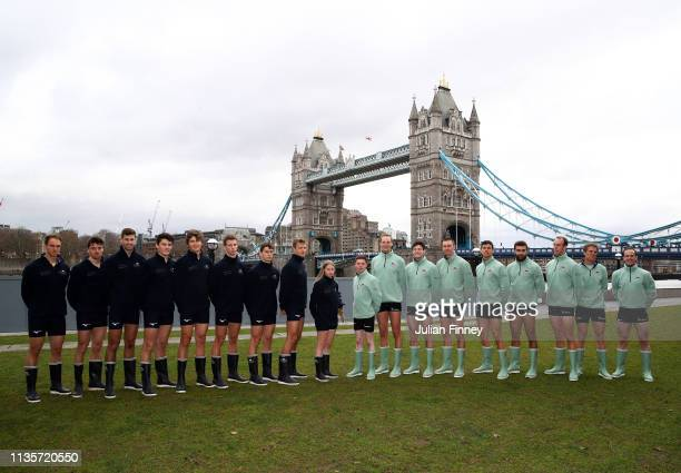 The Oxford University Boat Club and Cambridge University Boat Club pose for a photo during The Boat Race Crew Announcement 2019 on March 14 2019 in...