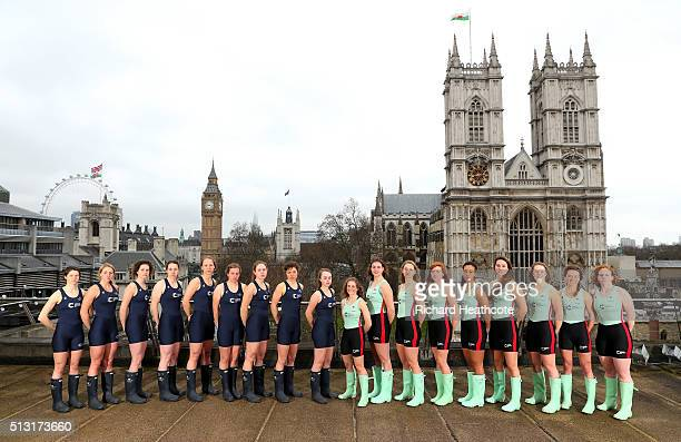 The Oxford University Women's Boat Crew pose alongside the Cambridge University Women's Baot Crew during The 2016 Cancer Research UK Boat Races Crew...