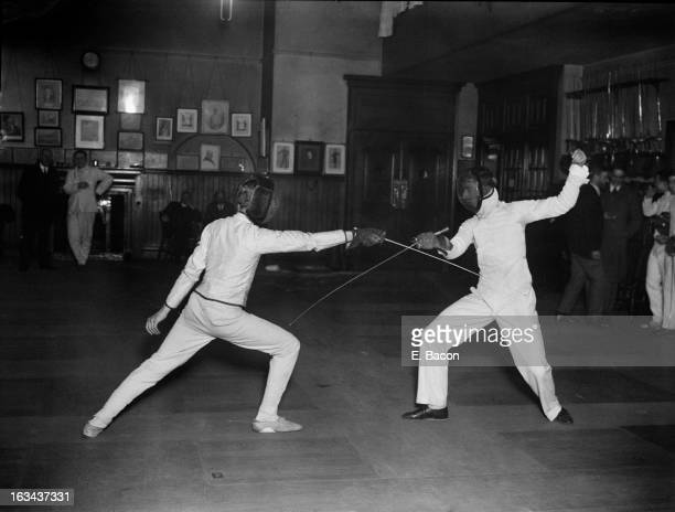 The Oxford V Cambridge Fencing Championships at the London Fencing Club in St James London 19th February 1926 Pictured are Oxford captain Cyril Simey...