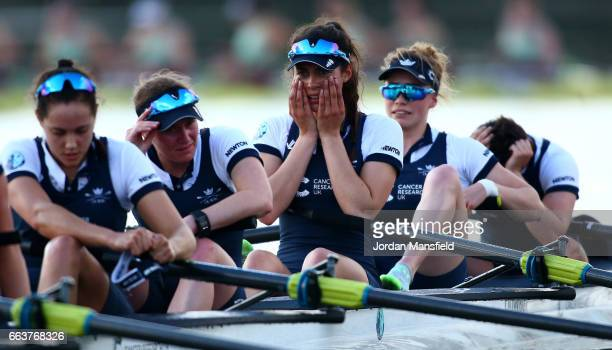 The Oxford women's crew are dejected after losing The Cancer Research UK Women's Boat Race on April 2 2017 in London England