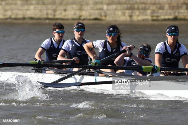 The Oxford women's crew suffer with a jammed oar in the Cancer Research UK Boat Race on April 2 2017 in London England