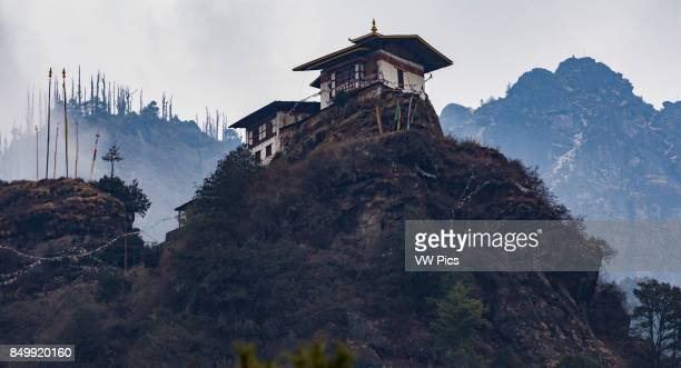 The Ozegang hermitage a house of meditation above the Tiger's Nest Monastery in the Paro Valley of Bhutan