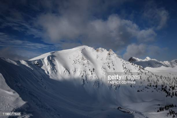 The Ozone face is seen during the face check ahead of the second stage of the Freeride World Tour skiing and snowboarding competition in Kicking...