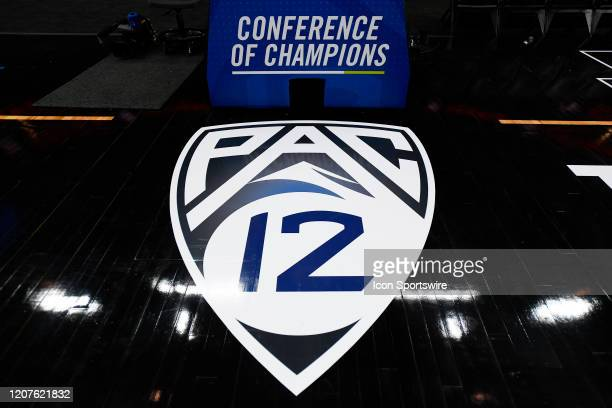 The Pac-12 logo on the court the first round game of the men's Pac-12 Tournament between the Oregon State Beavers and the Utah Utes on March 11 at...