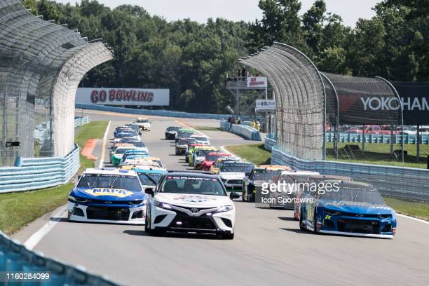 The pace car leads the field around the 2.45-mile road course getting ready to start the Monster Energy NASCAR Cup Series, GoBowling at The Glen on...