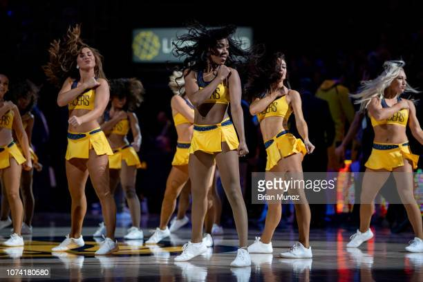The Pacemates perform during a time out during a game between the Indiana Pacers and the New York Knicks at Bankers Life Fieldhouse on December 16...