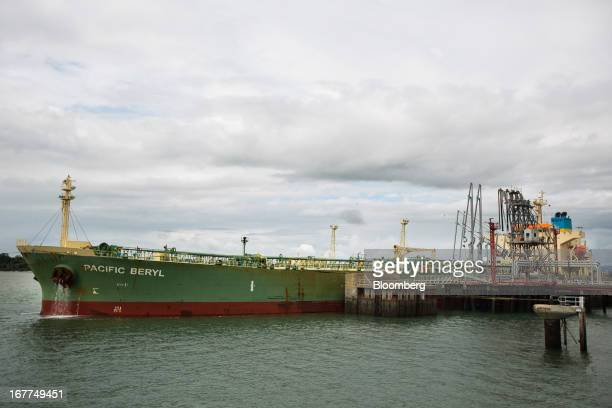 The Pacific Beryl an oil products shipping tanker is loaded with fuel while on the dockside at Mombasa port managed by the Kenya Ports Authority a...