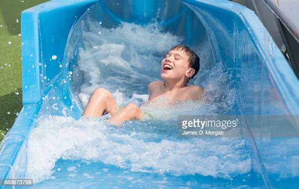 The Pacific Dawn cruise ship is enjoyed by children playing in her new water park on March 16 2017 in Brisbane Australia The PO Cruises ship has...