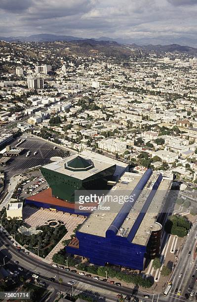 The Pacific Design Center and West Hollywood are seen from the air in this 1991 Los Angeles, California, aerial photograph.
