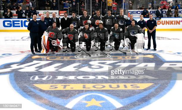 The Pacific Division team pose for a team photo prior to the 2020 NHL AllStar Game at the Enterprise Center on January 25 2020 in St Louis Missouri