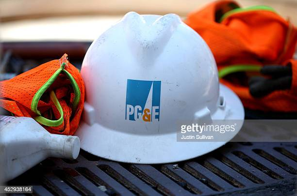 The Pacific Gas and Electric logo is displayed on a hard hat at a work site on July 30 2014 in San Francisco California A federal grand jury has...