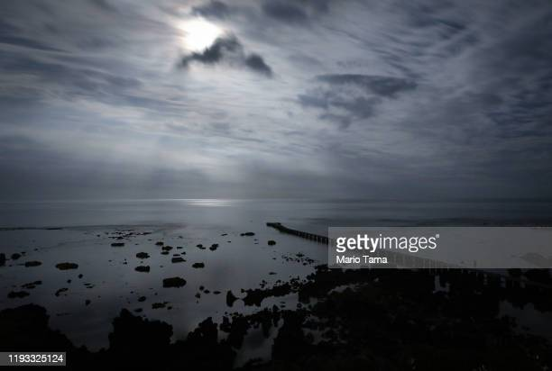 The Pacific Ocean is lit by the moon in a long exposure on December 04, 2019 in Tanna, Vanuatu. Satellite data show sea level has risen about 6mm per...