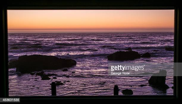 The Pacific Ocean is relatively calm near the Mendocino Coast Botanical Gardens just after sunset on September 7 in Fort Bragg California Located...