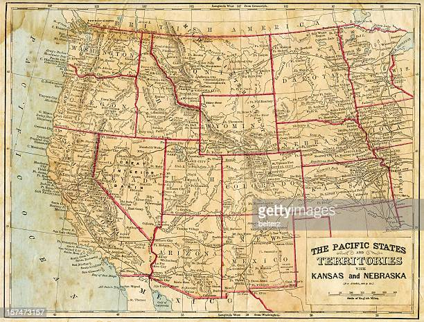 the pacific states - united states map stock pictures, royalty-free photos & images